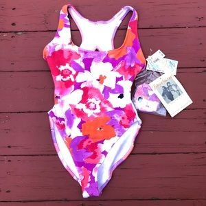 Floral body suit w/matching hair tie/scrunchie